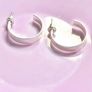 WHITE GOLD MATTE SMALL HOOPS